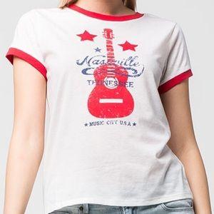 Tops - Nashville Music City Retro Ringer Tee Shirt