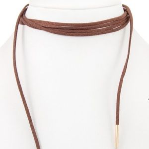 Jewelry - 🔻Brown Faux Suede Wrap Choker Necklace