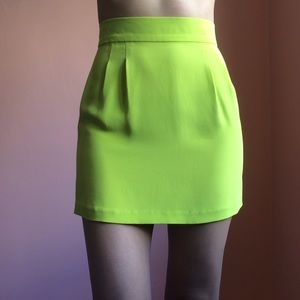 Naven Dresses & Skirts - Naven Chartreuse Silk Mini Skirt
