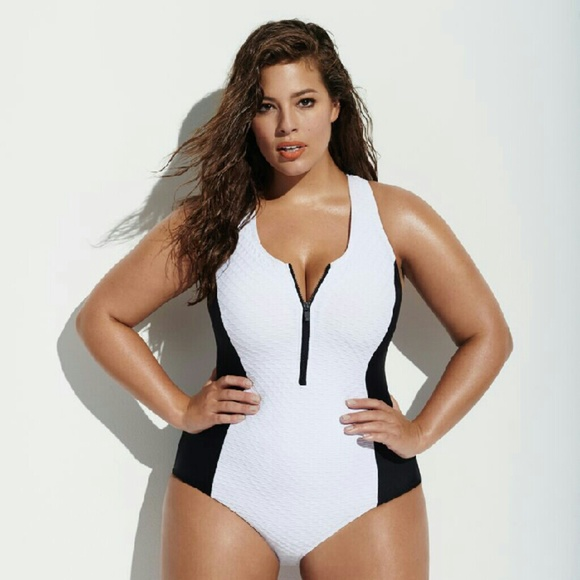 Forever21+ White Black Zip Up Swimsuit 28c0f4d42d4f
