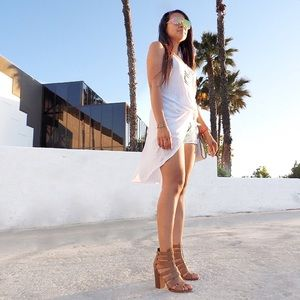 White High Low Tank Dress