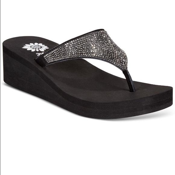 8e1adddf7f55b7 Yellow Box Shoes | Reija Wedge Thong Sandals | Poshmark