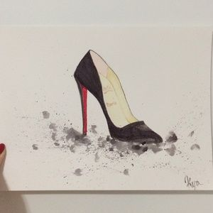 Christian Louboutin Other - hand drawn water color louboutin drawing