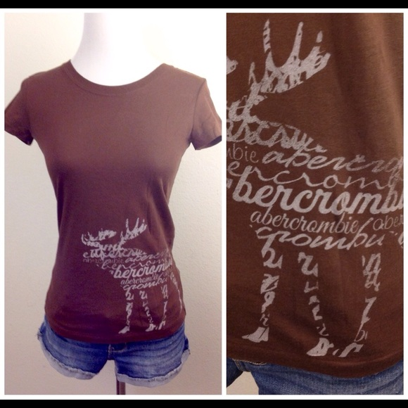 Abercrombie fitch new abercrombie brown moose logo tee for Abercrombie logo t shirt