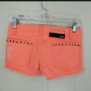 Hurley Neon Pink Distressed Cutoff Shorts