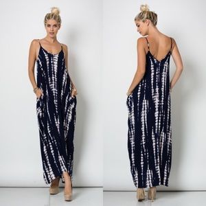 Dresses & Skirts - Draped Tie Dye Maxi NAVY