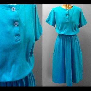 Vintage Dresses & Skirts - Vintage 1980's Turquoise Jersey Knit Dress