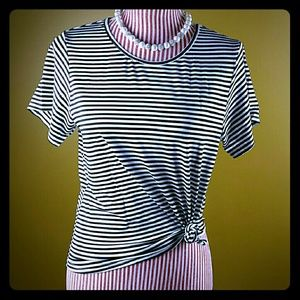 Tops - Black and White Striped Boxy Tee