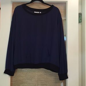 Halogen navy and blk long sleeve sheer blouse