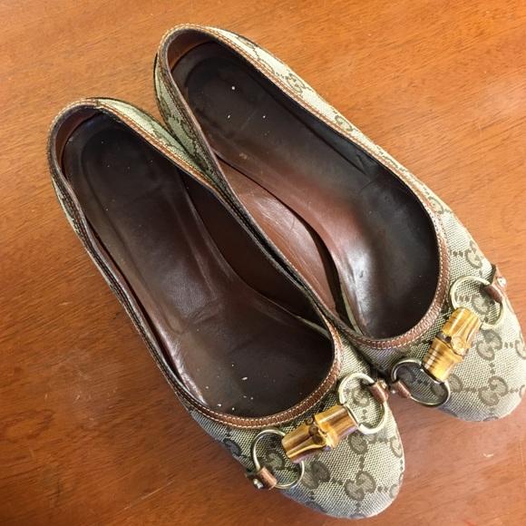 63bee919781 Gucci Shoes - Gucci canvas horsebit bamboo ballet flats size 8B