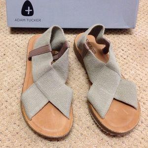 Khaki sandals, never worn.