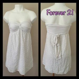Forever 21 Dresses & Skirts - White Eyelet Strapless Dress