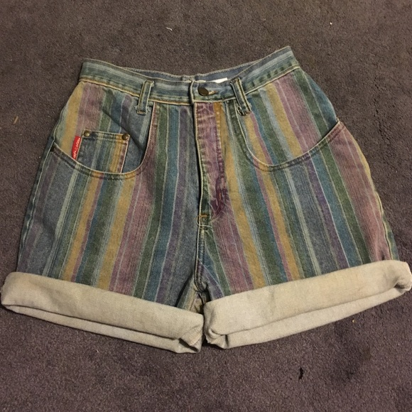 5ca605d03b30 Vintage High Waist Striped Denim Shorts. M 57570a52f09282a19f01c99a