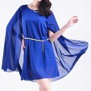 Dresses & Skirts - Royal blue cape dress