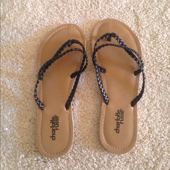 9fd7bc1dad2d Charlotte Russe Shoes - Black Braided Leather Charlotte Russe Flip Flops