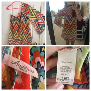 Chevron patterned one shoulder dress! Size small