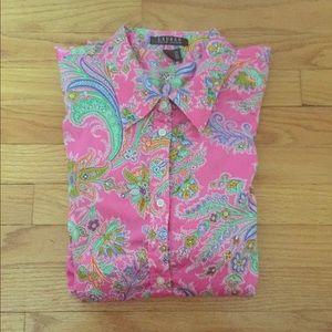Lauren Ralph Lauren Pink Paisley Button Down Shirt