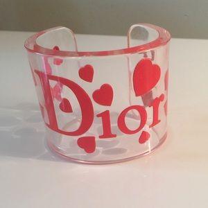 Christian Dior lucite hearts cuff bracelet
