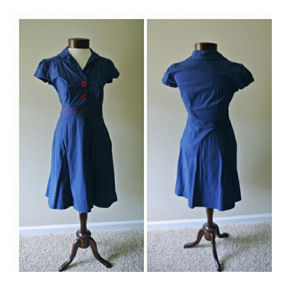 🚢Rockabilly Pinup Naughty Nautical Polkadot Dress c538fc0a6