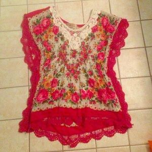 Spool 72 Tops - 5th Culture Red Floral Lace Blouse