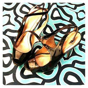 BCBG black patent leather heels