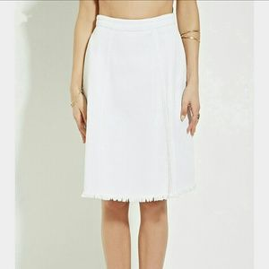 Forever 21 White Fringe Denim A-Line Skirt Size XS