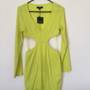 Blaque Market Dresses - Yellow Cut Out Dress