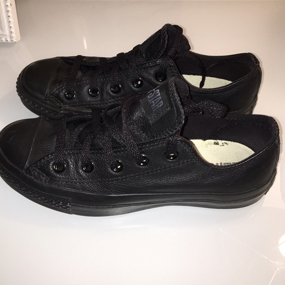 c843542f063 Converse Shoes - All black leather Converse low tops.