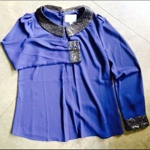 Sparkly Collar & Cuffs Blouse, Worn Once!