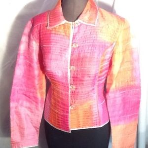 Anage Jackets & Blazers - Anage 100% silk embroidered watercolor lame blazer