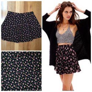 High Waisted Floral Mini Skirt