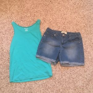 Tops - Shorts and a teal tank top!