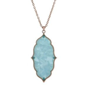  Moroccan Pendant Necklace-Turquoise & Gold
