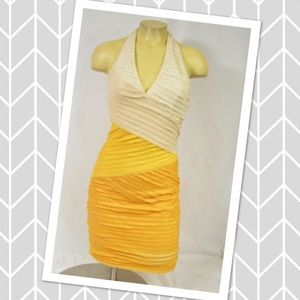 Bebe Dress party formal wedding cocktail yellow