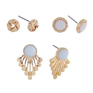 💠👂🏼Serenity Fan/Knot/Button Earring Trio