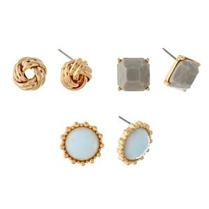 💠👂🏼Square, Disc, & Button Post Earring Trio
