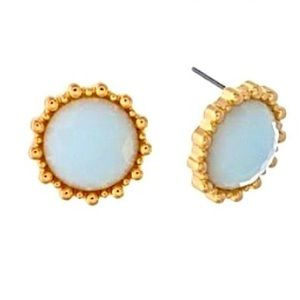 🌎👂🏼Gold Tone Serenity Blue Button Post Earrings