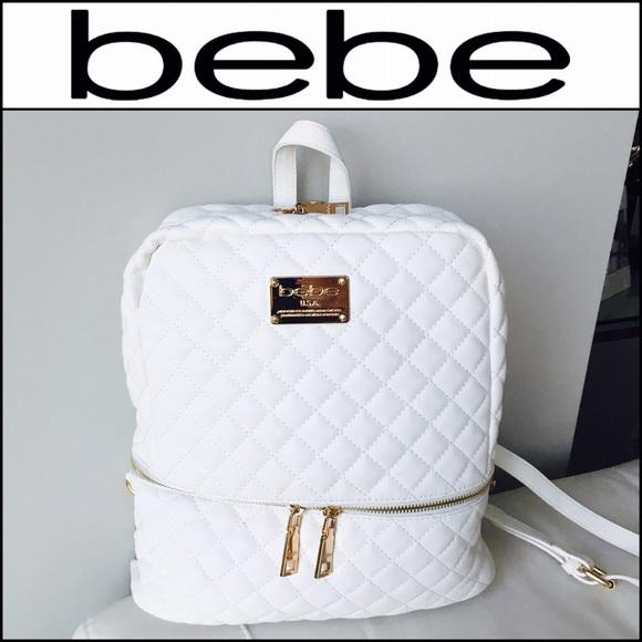 42% off bebe Handbags - 💕BEBE White & Gold Danielle Backpack ...