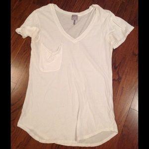 Bobi Tops - Bobi Cream Pocket Vneck Tshirt