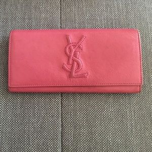 authentic yves saint laurent ysl wallet purse coin card black leather logo gold