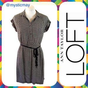LOFT Dresses & Skirts - LOFT Black Belted Short Sleeve Career Dress XS / 2