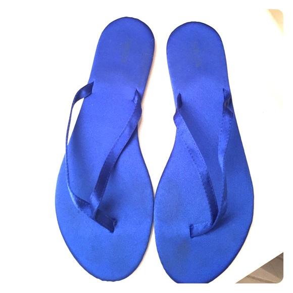 6914af918d28 David s Bridal Shoes - Cobalt satin Zoey flip flops.