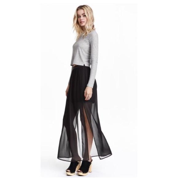 6c84923cc7 H&M Skirts | Sheer Black Maxi Skirt | Poshmark