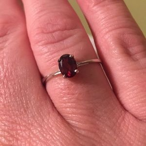 MozambiqueGarnet Solitaire Ring in Sterling Silver
