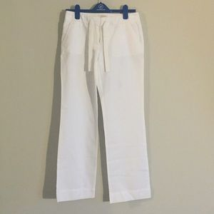 White Linen J. Crew Wide Leg Pants