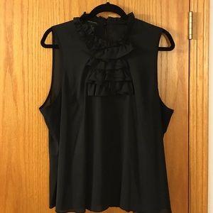 Spense Tops - Elegant ruffled black sleeveless top
