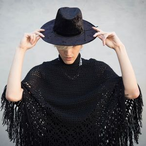 UNIF Accessories - Crushed Velvet Black Fedora Hat Witchy Goth Nugoth
