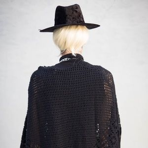 dollskill Accessories - Crushed Velvet Black Fedora Hat Witchy Goth Nugoth