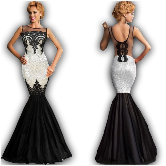 Pinkerly Dresses | Sparkly Sequin Black And Silver Mermaid Gown ...