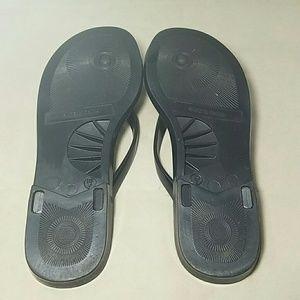 4d73b32037faa7 DKNY Shoes - DKNY Sz 6 Black Jelly Flip Flops w  Coin Charm